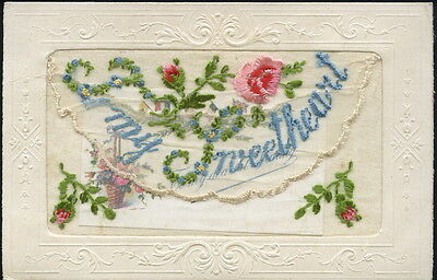 WW1 - Silk Embroidered Postcard - 'TO MY SWEETHEART' & small card insert