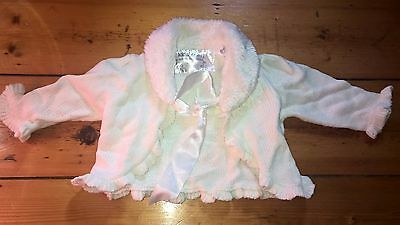 KID'S STUFF fluffy knitted baby girl jacket 6-12m 0 as new