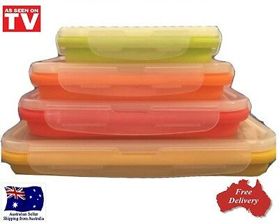 Collapsible/Pop Up Silicone Stacker Containers Rectangle Space Saving Set of 4