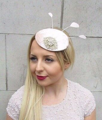 Blush Pink Pale Peach Gold Silver Feather Fascinator Hair Clip Hat Races 2653