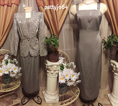 Silver / Gray Sz 12 2pc Evening Dress & Blazer Special Occasion Mother Formal