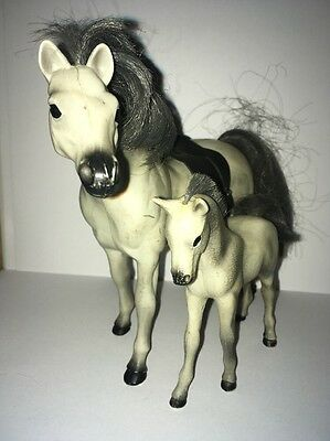 Grand Champions grey Stallion Horse With Tack Foal Toy Horse Figure Pony