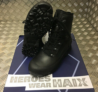 Genuine British Army Haix Goretex Leather Combat Assault Black Boots - NEW