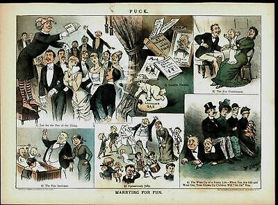 Marrying for Fun Sex Expensive No Regrets 1883 antique color lithograph print