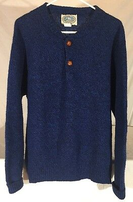 Vintage 80's Environmental Clothing Co. Wool Blend Henley Sweater Mens L USA
