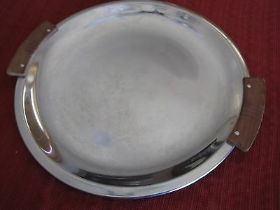 Vintage Round Silver Tray with wood handles