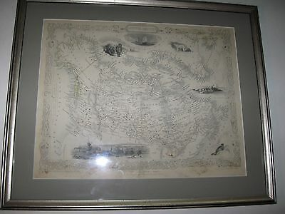 1840's Map of Canada - British America - 1840's Original Map! Tallis/Rapkin !