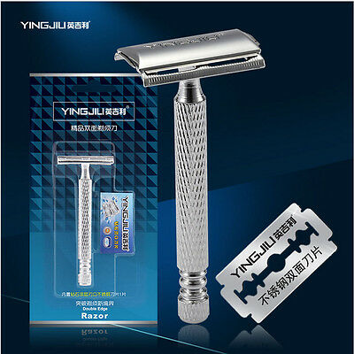 Stainless Steel King Safety Mens Shaving Razor With Case Double Edge + 5 Blades