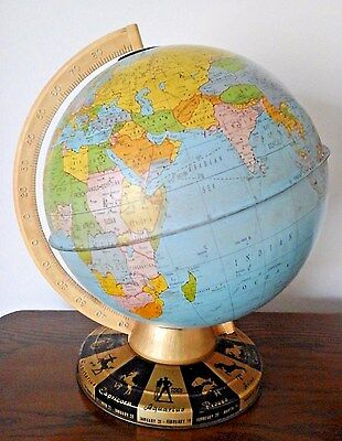 "Ohio Art Co. metal tin vintage world globe earth 9"" zodiac stand Made in USA"