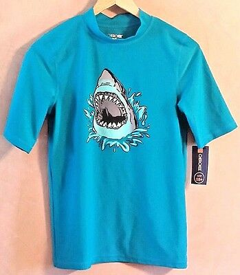Cherokee Shark Blue Swim Shirt Short Sleeve UPF 50+ Skin Rash Guard NWT XL 16
