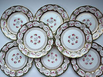 Cauldon 9 Piece Set Oblong Platter 8 Plates Gilded Flowers Roses Forget-Me-Nots