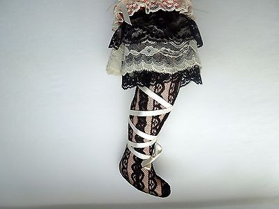 Victorian Large Leg Needle Lace Pin Cushion Pincushion Velveteen Sewing Rare