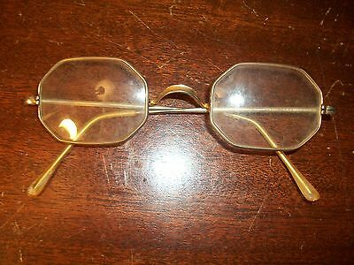 Antique reading glasses octagonal lens scroll bridge gold wire rimmed france