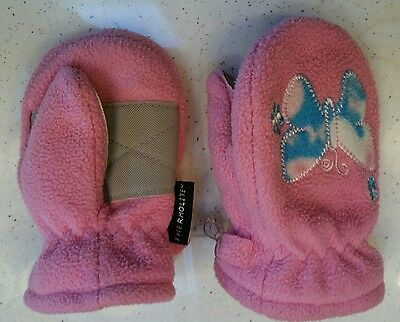 Toddler girl pink mittens with butterflies Size 2-4T