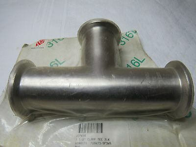 """**MAKE OFFER**  (1) NEW 1-1/2"""" Sanitary Tri Clamp Tee Fitting, 316 SS"""