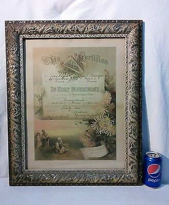 Vtg Antique 1892 Victorian Era Wood Chalk Flower Design LG Picture Frame Litho