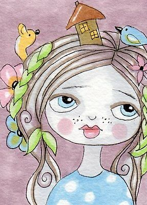 Aceo Original Drawing Girl simple and sweet Whimsical Art by FAiRyPiGGleS