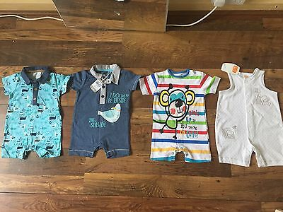 4x Baby Boys Rompers 3-6 Months Brand New