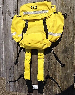 FSS Firefighter Field Pack Yellow W/ Backpack & Harness, 2 Canteen Cases, & Belt