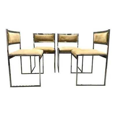 Vtg S/4 1970s Italian Chrome & Pigskin Dining Chairs By Willy Rizzo Mid Century
