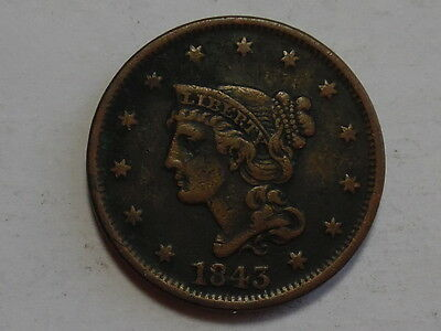 1843 Braided Hair Large Cent - Very Fine, VF - Details