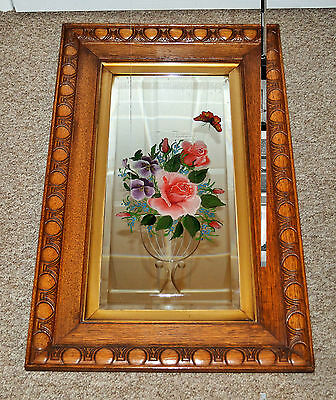 Antique Victorian Mirror glass, etched with Hand painted flowers