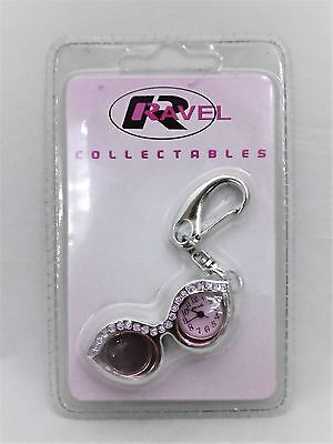 Ravel Pink Spectacle Shape Key Ring with Analogue Watch
