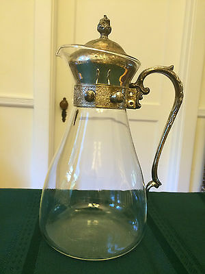 Vintage Silverplate and Glass Decanter Carafe Coffee Tea BEAUTIFUL