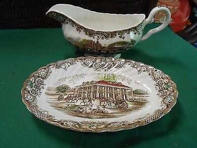 Beautiful HERITAGE HALL Southern Plantation Ironstone GRAVY BOAT & Plate