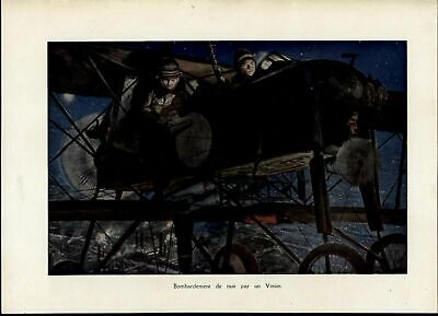 Night Bombing Biplane Aviation World War I 1918 great vintage print image