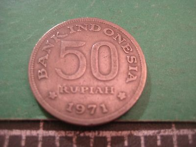 "1971 Bank Of Indonesia ""rp 50 Rupiah"" Coin~"