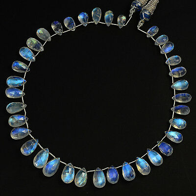 110CT Fine Rainbow Moonstone Faceted Pear Briolette Beads 13.5 inch strand