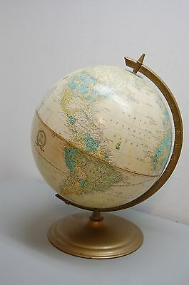 World Globe Earth Crams Imperial Metal Base Made in USA