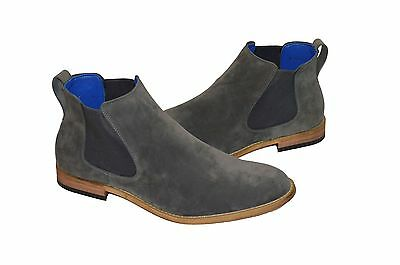 Mens Casual Designer Chelsea Boots Grey Suede Slip-Ons Shoes UK 6-12
