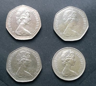 3 X OLD STYLE FIFTY PENCE 50p COINS & TEN PENCE 10p COIN