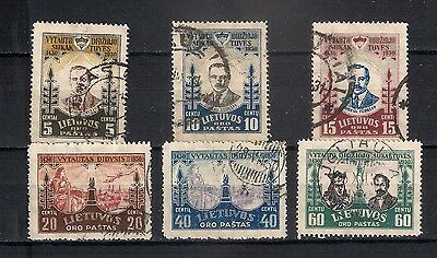 Lithuania  1930 Sc# C40-C45  Used   - 4/48