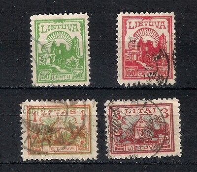 Lithuania  1923 Sc# 169-171 & 173  Used   - 4/48