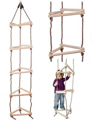 Wooden Triangular Rope Ladder - 15 Rung 3 Sided - Climbing Frame Accessory