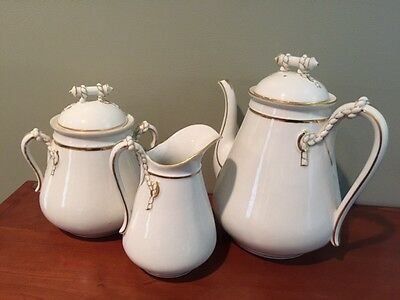 Antique Haviland Limoges coffee / tea pot, sugar & creamer w/ wedding band, rope