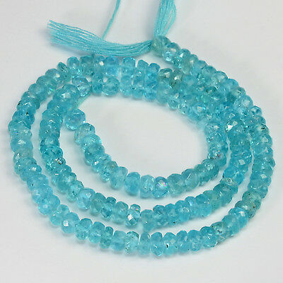 4.7mm Neon Blue Apatite Faceted Rondelle Beads 14 inch Strand