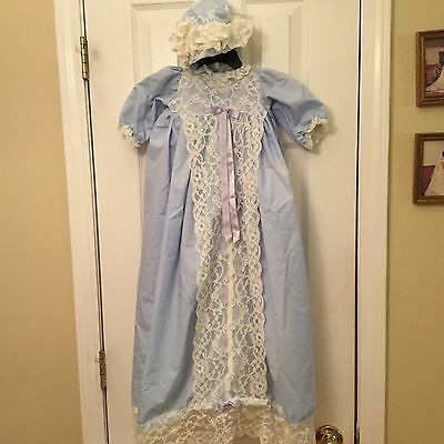 Long Blue Infant Baby Gown Dress Attached Slip Bonnet Christening Baptism 33""