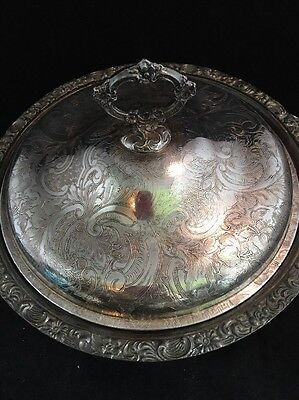 Silverplate Ornate Bowl With Lid & Handles Marked Made in England W-A EUC