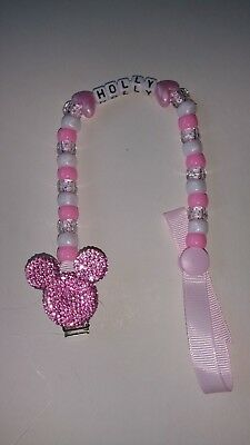 Baby Pink Bling Minnie Mickey Mouse Personalised Dummy Holder Saver Clip