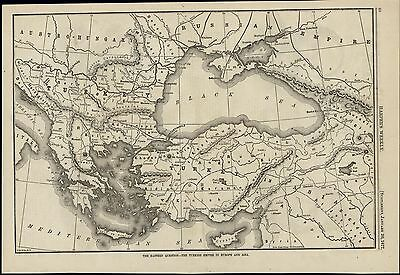 Turkish Empire in Europe & Asia Map Black Sea 1877 scarce old map for display
