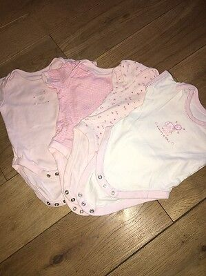 4 X Baby Girls Short Sleeved Vests Age 3-6 Months