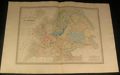 Geology of Europe Volcanic Terrain Denmark Italy 1846 antique engraved color map