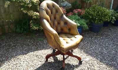 Chesterfield Style Leather Swivel Captain's Desk / Library Armchair