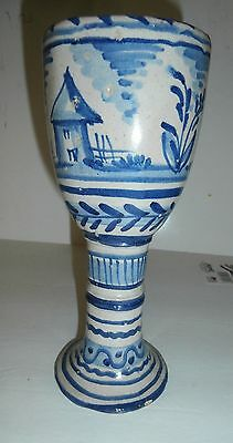 Antique Chinese 17Th C ? Blue & White Porcelain Goblet Stem Cup
