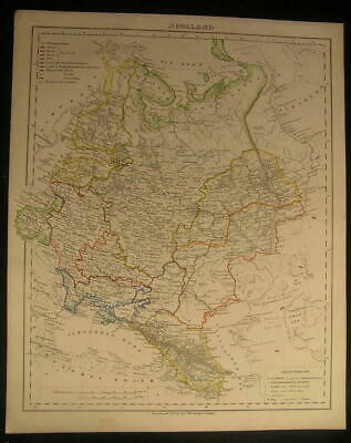 Russia in Europe Ural Crimea c.1854 antique lithograph outline hand color map