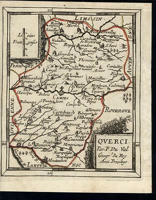Cahors Lot Belmontet Querci France 1730 antique engraved hand color map